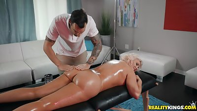 Hot blonde Karissa Shannon enjoys sex with her horny masseur