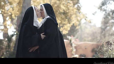 Horny nun Lena Paul can think only about sinful cunnilingus outdoors