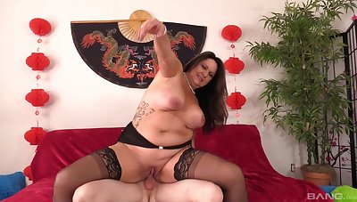 Chubby mature loves riding the dick as hard as possible