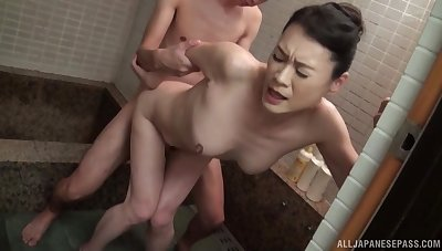 Standing doggy style at the a blowjob is all about Hoshino Yurie thinking