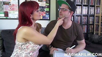 Depraved Italian redhead MILF Mary Rider gives a good titjob and blowjob