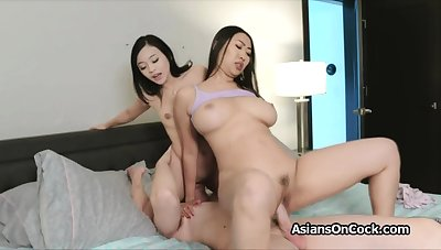 Big cock threesome with horny Asian hotties