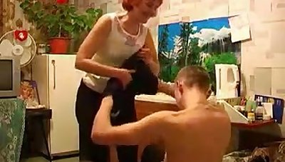 Hot Russian Milf Copulation Briefing To Young Lover Voyeur