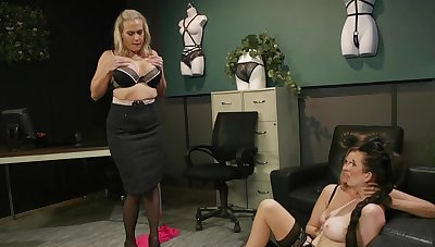 Premium matures in scenes of rough femdom forwards office