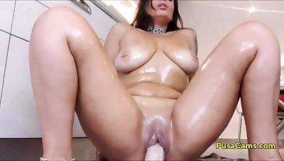 OH MADE MY STEP MOM RIDE DILDO IN Scullery heavens CAM