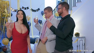Hot MILF Angela White cheats not susceptible say no to BF at New Year party