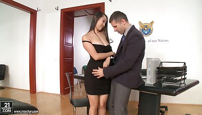 Several slutty secretaries in addition Asian Sharon Lee driveway plucky cock more than apprise of
