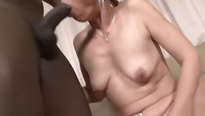 Black and White - BBC Cum drinking Slut Likes chunky frowning cock
