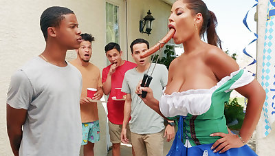 Hardest Oktoberfest group sex for drunkard wife