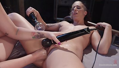 Aroused lesbos share some naughty bondage and femdom