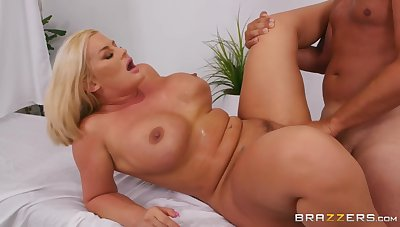 Julie Cash makes love with Keiran Lee on the massage sofa