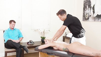 Astounding blond milf Carmen Caliente is fucked away from masseur in front of husband