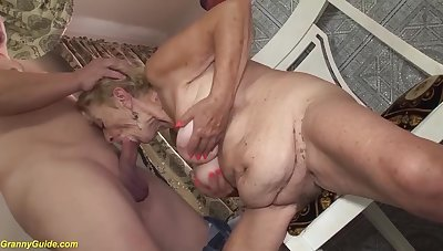 Extreme hairy big belly 8 ancient granny loves in fuck with her big cock toyboy