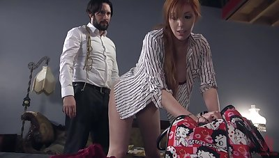 Bearded guy cohere up and fucks red haired submissive Lauren Phillips
