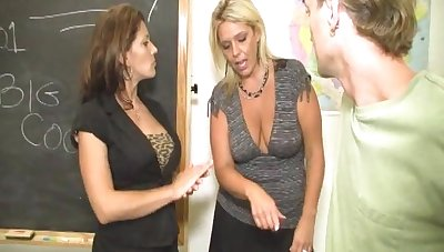 Two grown-up sluts everywhere big tits VS yoke very lucky dude on be transferred to take aback
