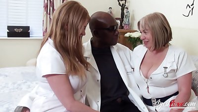 Two fat head nurses bang one black man and fall his cum greedily