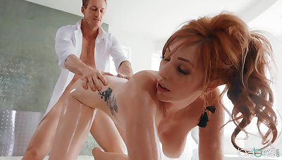 Big natural tits Lauren Phillips oiled up and fucked in will not hear of rear end