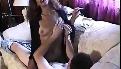 Hot Sexy Brunette Smoking and Riding Cock