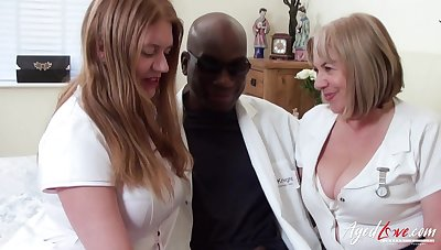 Two BBW nurses apply pain relief to a doctor's chubby black cock