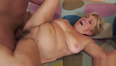 Cockloving granny banged by her lover