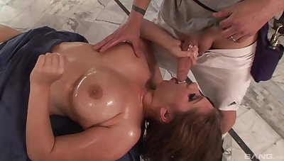 Oiled pornstar Alex Chance takes a fat dick back her horny mouth
