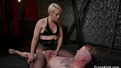Blondie Housewife mistress whips male attendant
