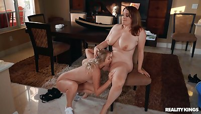 Chubby lesbians love be passed on slim collaborate licking her pussy and clit
