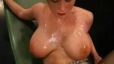 Busty sheer haired MILF Danielle - gangbang and bukkake
