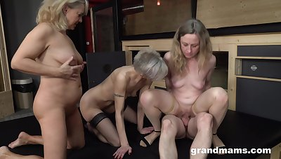 Matures in a crazy group fuck on capable of learn of