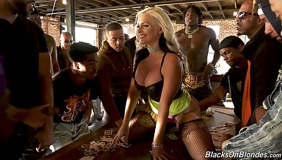 Brutal interracial gang bang suits well for completely voracious MILF Alena Croft
