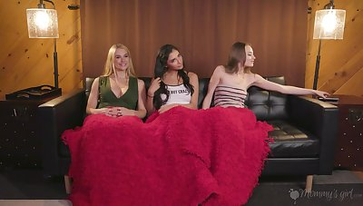 Amazing lesbian threesome in slay rub elbows with evening with Sarah Vandella