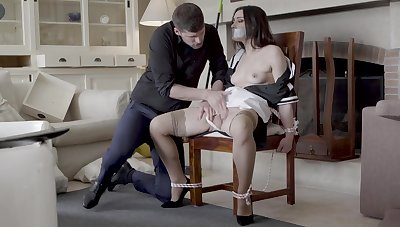 Hot maid Valentina Bianco tied to a armchair and fucked good