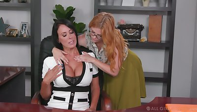 Lesbian assistant seduces seduces bossy cougar Penny Pax increased by licks her pussy greater than the table
