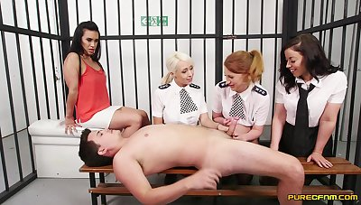 Male prisoner gets his dick sucked wits four dirty sluts. HD video